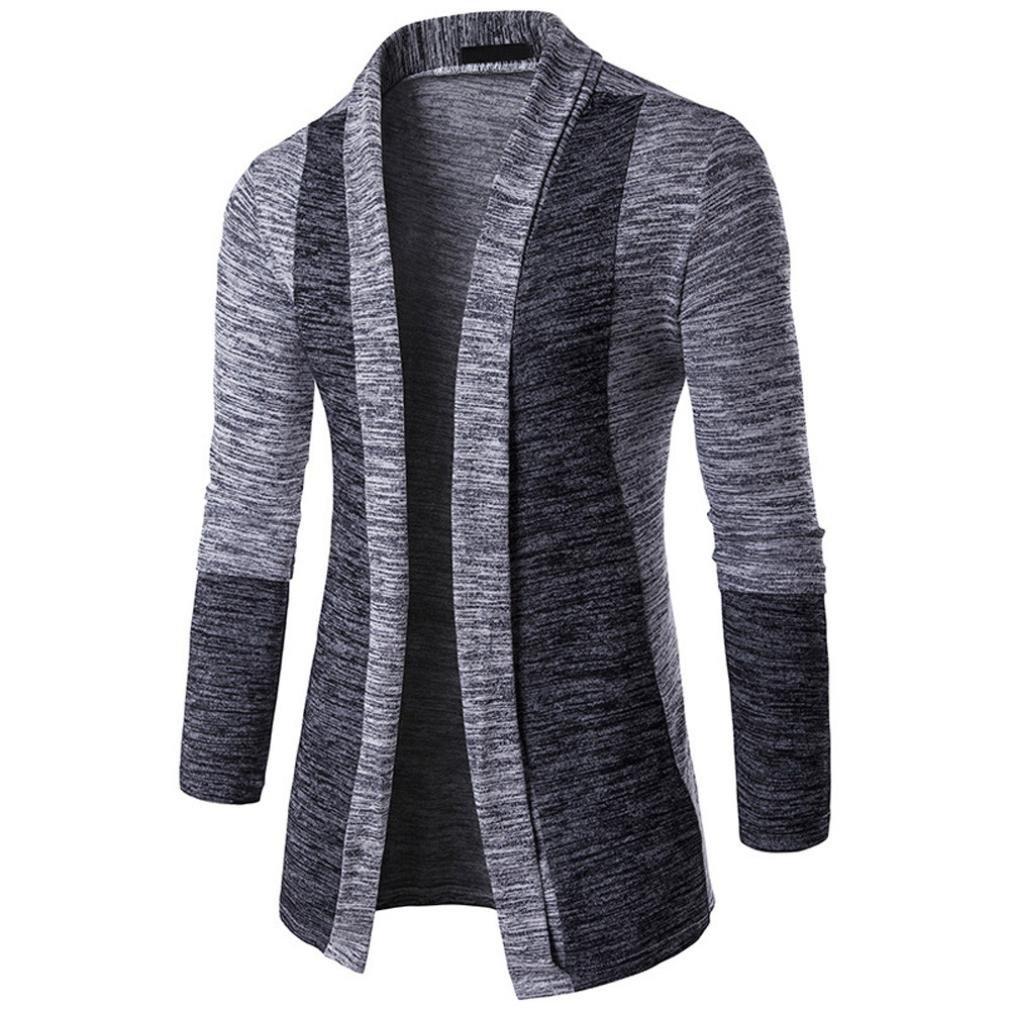 Manteaux Hommes d'hiver,Moonuy Fashion Men tricot Slim Fit tricots Cardigan Patchwork Manteau long chaud Vestes d'affaires Tops