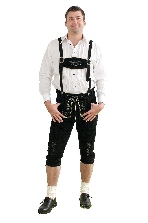 Herren Trachten Kniebundhose schwarz aus feinstem Rindsveloursleder Gr. 44-68