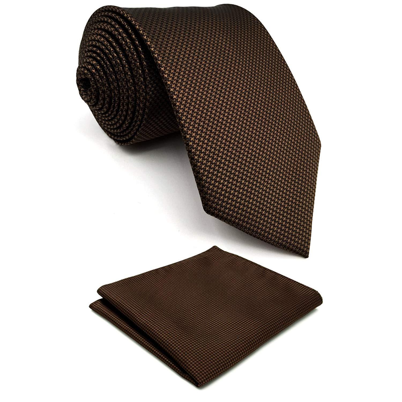 Shlax& Wing Mens Tie Solid Color Dark Brown Chocolate Necktie Silk Classic U27-H