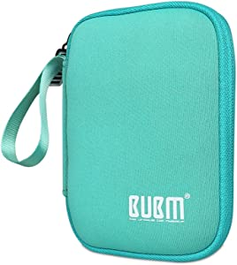 External Hard Drive Case, BUBM Soft Carrying Travel Case for 2.5-Inch Portable External Hard Drive/Portable Hard Drive Protection Box Case/Electronics Travel Organizer/Cable Bag-Pink Blue