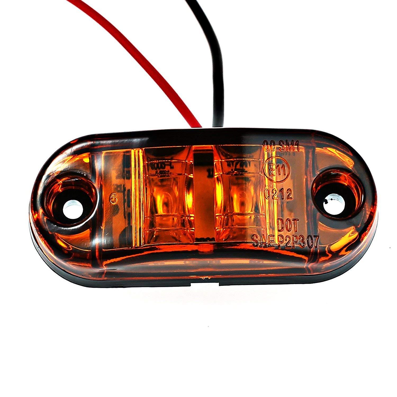 Remorque,2 LEDS,12 V//24 V Universel,2.5 Pouce,Ovale WildAuto Lumi/ères Side Marker Light Feux De C/ôt/é Led Feux De D/égagement,imperm/éable antichoc,Pour Camion 4 Pcs Rouge