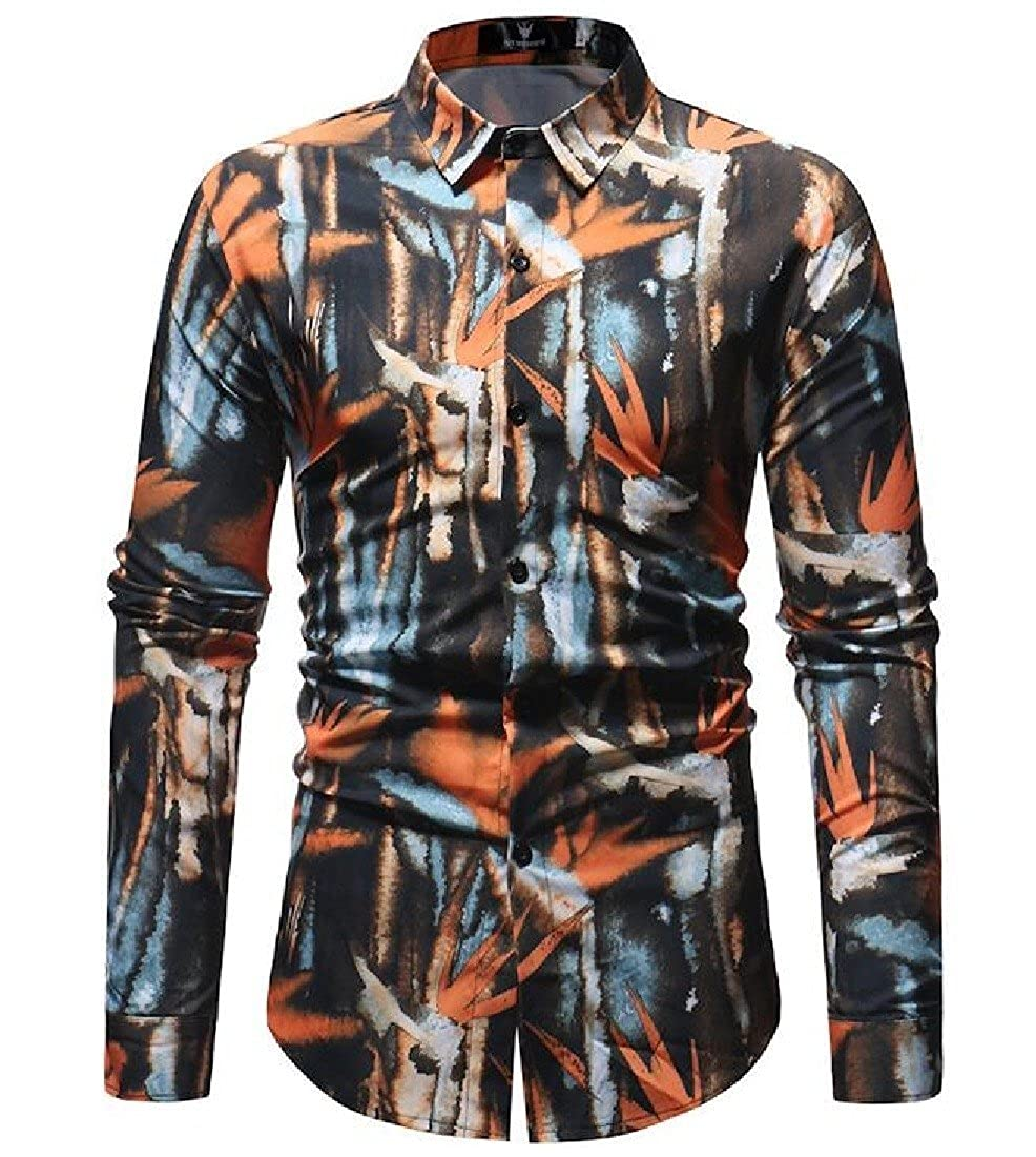 YUNY Men Long-Sleeve Button Down Floral Printed Fashion Western Shirt S