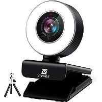 Cámara web 1080P con micrófono y anillo de luz, Vitade 960A Pro USB HD PC cámara web cámara de vídeo para streaming de…