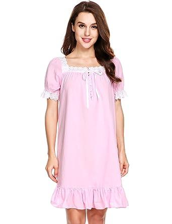 5a04aec3d2 Dozenla Women Lingerie Dress Cotton Short Long Sleeve Sleepwear Nightgown  Shift Pure Color Nightwear