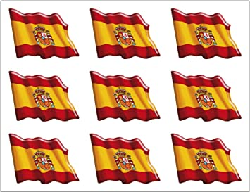 Artimagen Pegatina Bandera Ondeante 9 uds. España Resina 17x12 mm/ud.: Amazon.es: Coche y moto