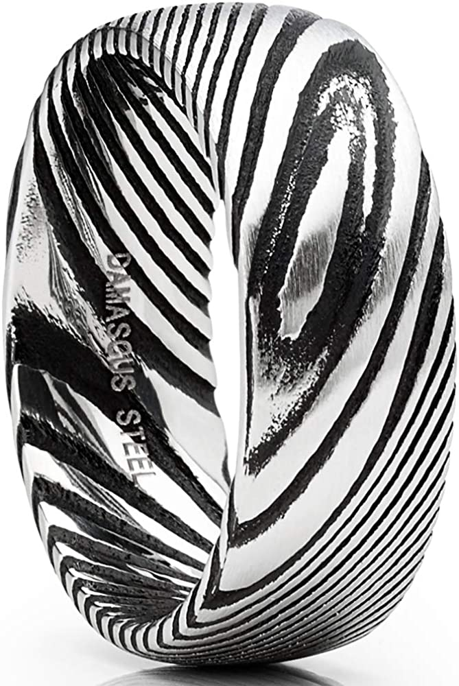 Metal Masters Co. Men's Damascus Steel Wedding Band Ring Black Oxidized Dome Comfort-fit 8MM 7-15