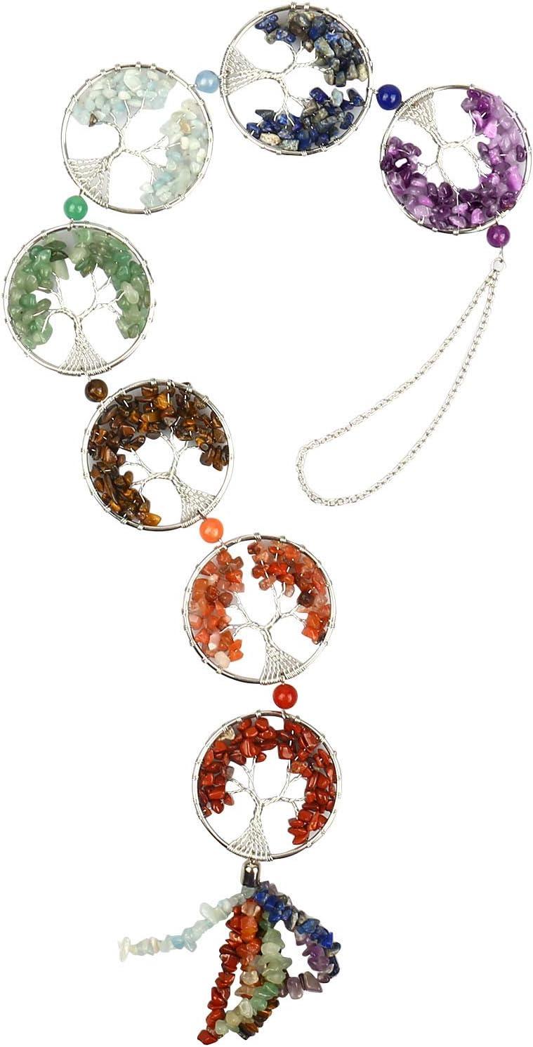 7 Piedras de Chakra Árbol de Cristales Curativos de Reiki de Vida Piedras Preciosas Naturales Adorno Colgante Meditación Yoga Decoración de la Pared del Hogar para la Buena Suerte (Plata)