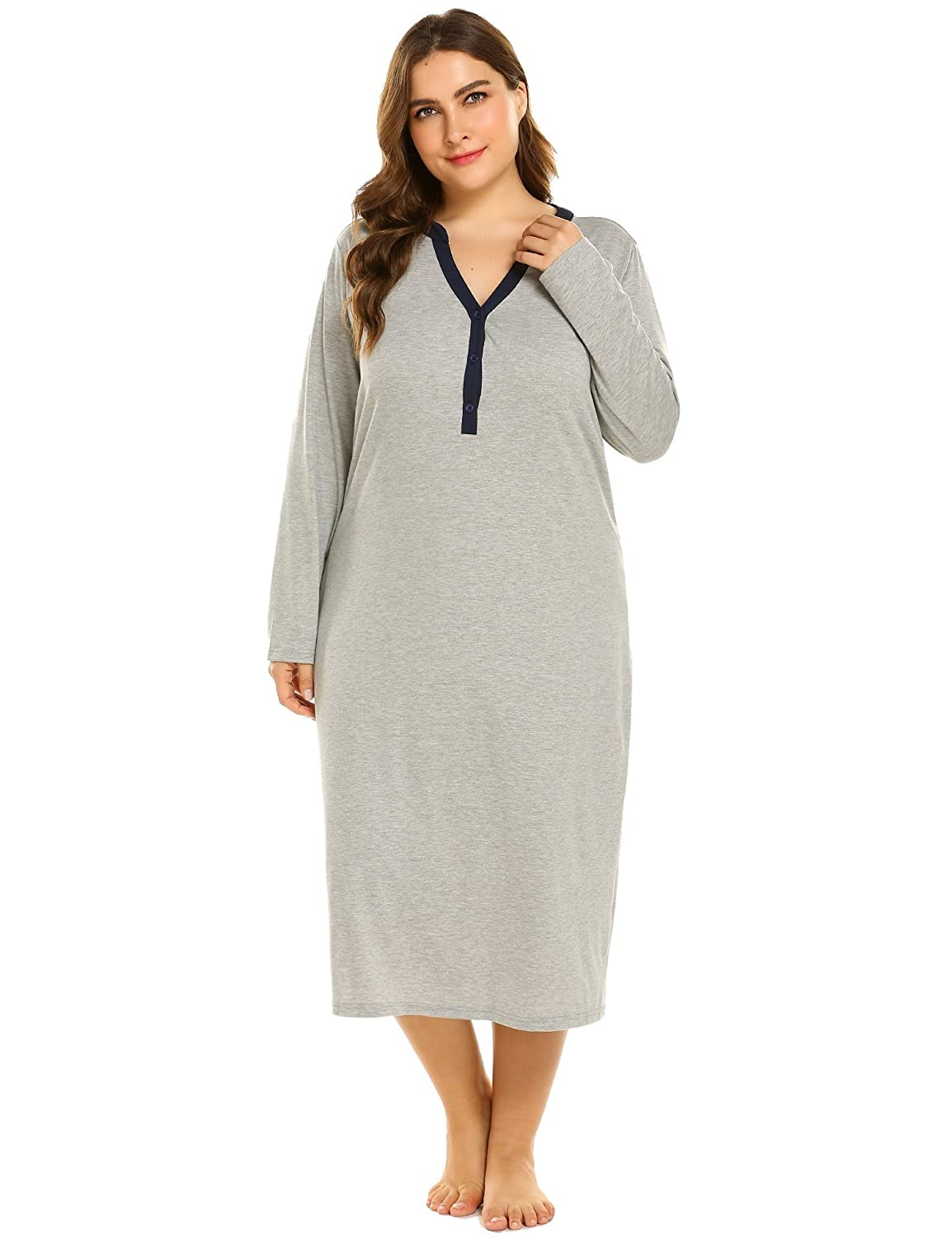 8a97a080e6949 IN VOLAND Sleepwear Women s Plus Size Cotton Knit Long Sleeve Nightgown V  Neck Sleep Shirt Dress(16W~24W) at Amazon Women s Clothing store