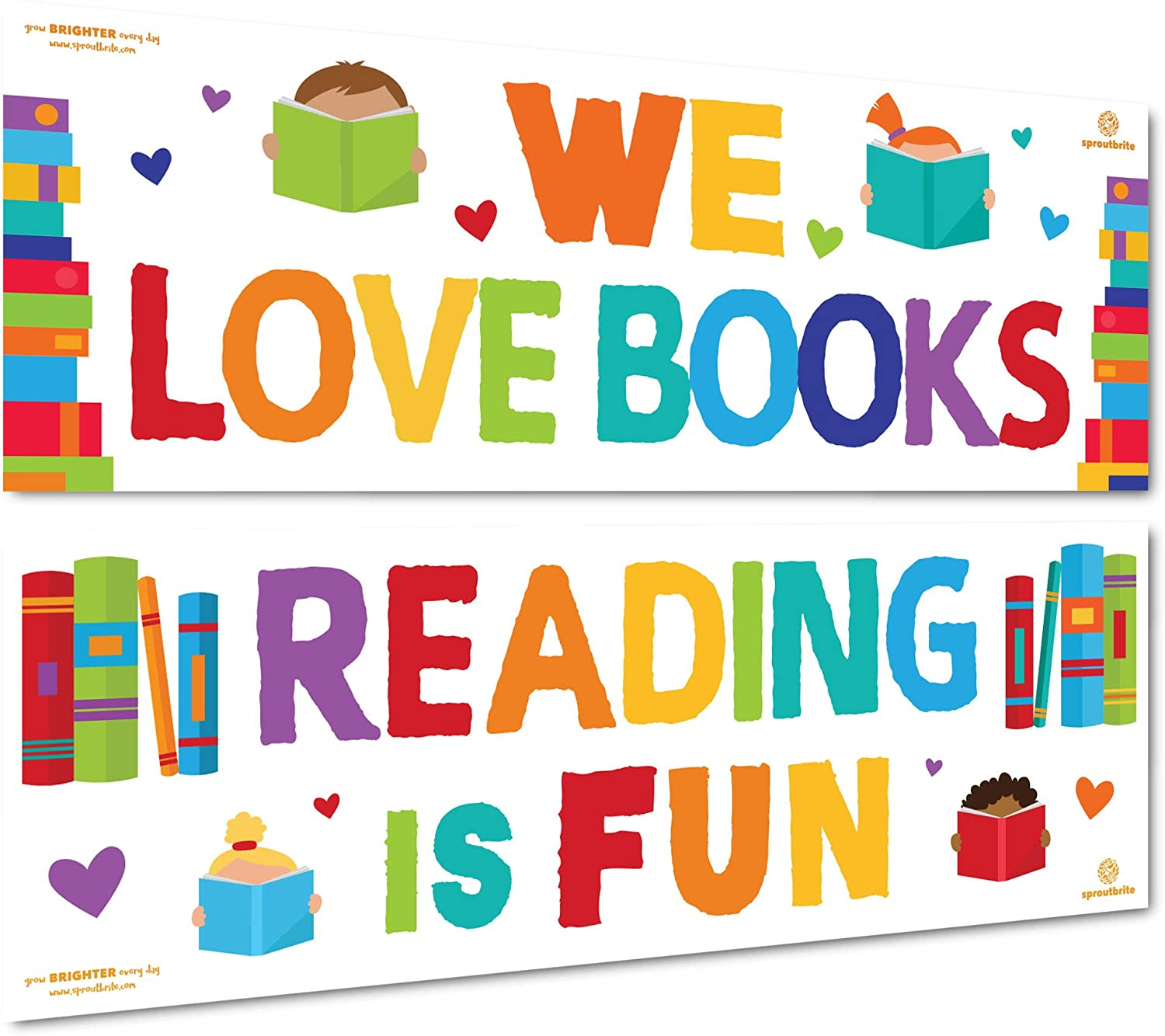 Sproutbrite Classroom Decorations - Reading Banner and Poster for Teachers - Bulletin Board and Wall Decor for Pre School, Elementary and Middle School
