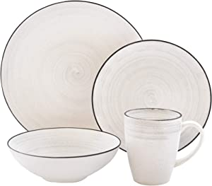 "Elle Décor Whitestone Casual Round Dinnerware Set – 16-Piece Stoneware Party-4 Dinner & 4 Salad Plates, 4 Bowls, 4 Mugs – Gift for Special Occasion or Birthday, 10.7"", White"