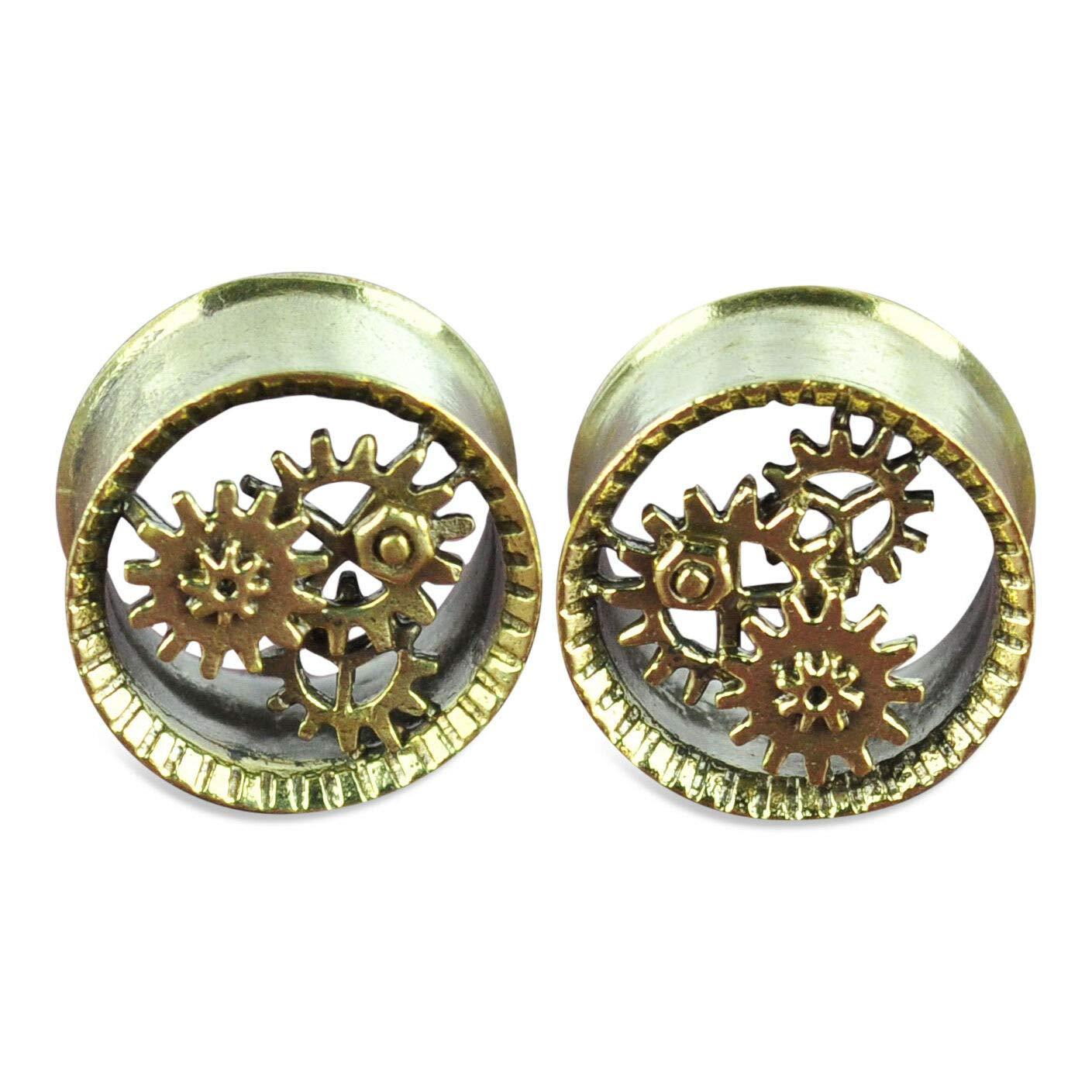 yati_gj 1 Pair Brass Tunnels with Steampunk Gears Ear Gauges 12 mm