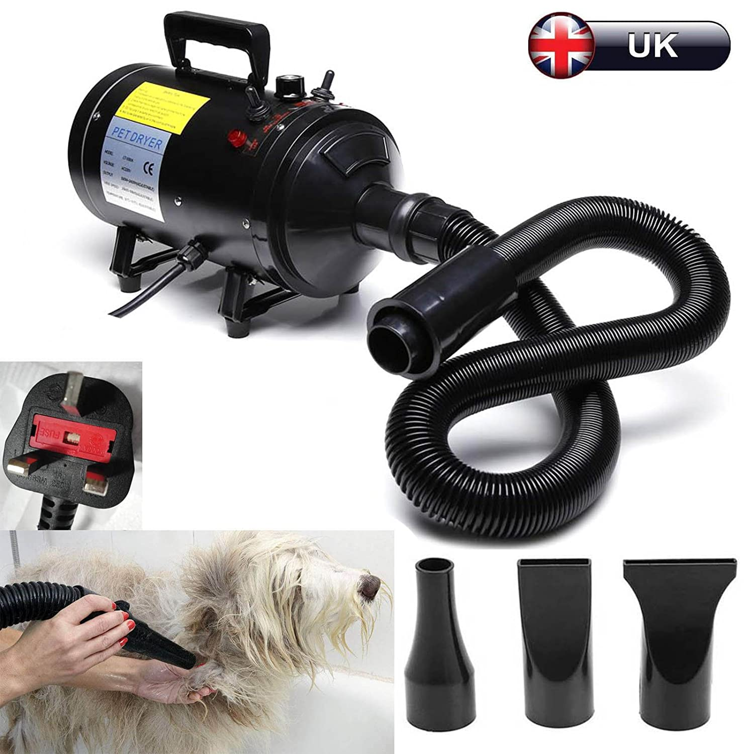 Pet Dryer 2800W Stepless Speed Dog Grooming Hair Fur Dryer Cat Hairdryer Professional Heater Blaster Snow Blower with 3 Nozzles UK Standard Plug