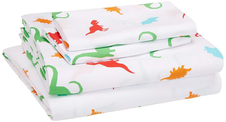 AmazonBasics Kid's Sheet Set - Soft, Easy-Wash Microfiber - Queen, Multi-Color Dinosaurs