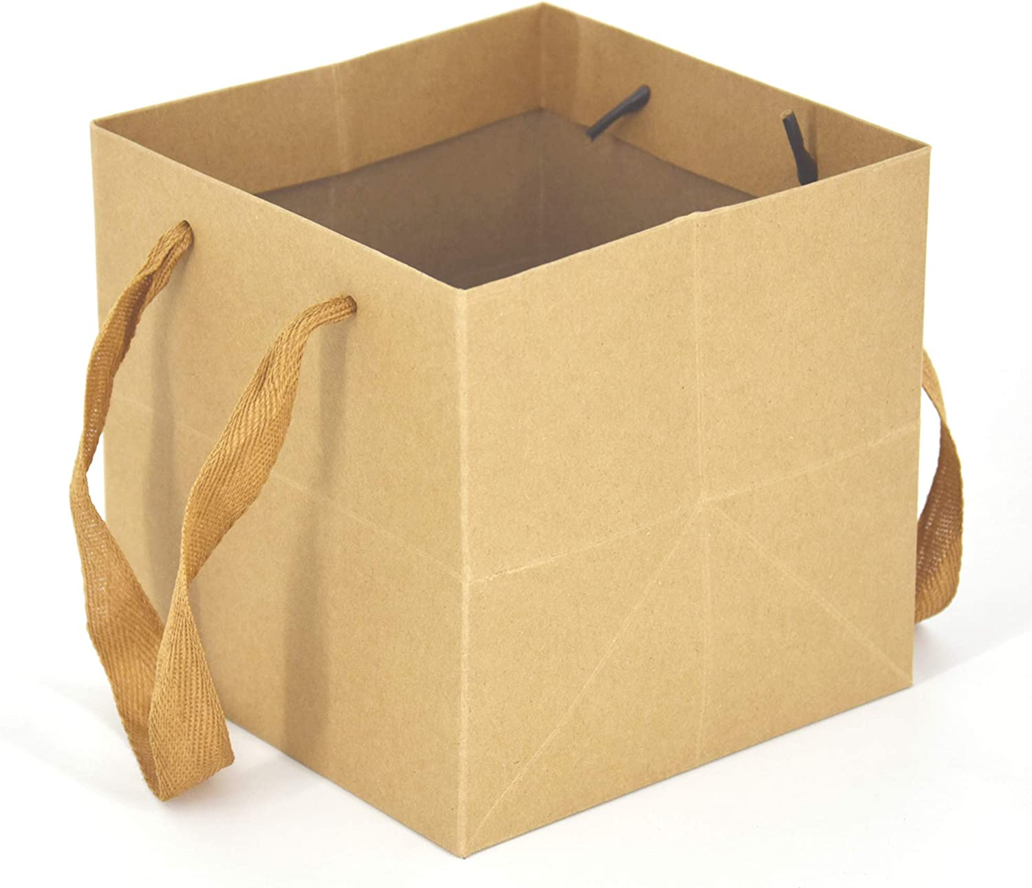 HUAPRINT Kraft Paper Bags,Craft Gift Bags with Handles,24 Packs Brown,6x6x6inch, Heavy Duty Grocery Shopping Bag,Wedding Party Favor Bags,Square Size,Reusable,Retail Business Packaging Bags