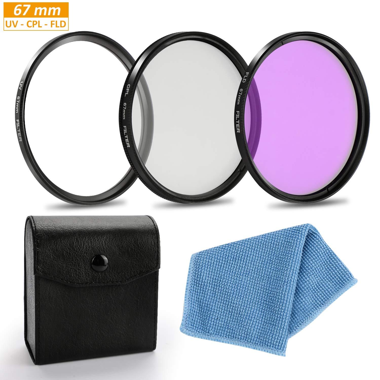 58mm Aiglam Filtro de 58mm de la Lente Kit de Accesorios,UV//CPL//FLD Filtro para Canon EOS Rebel