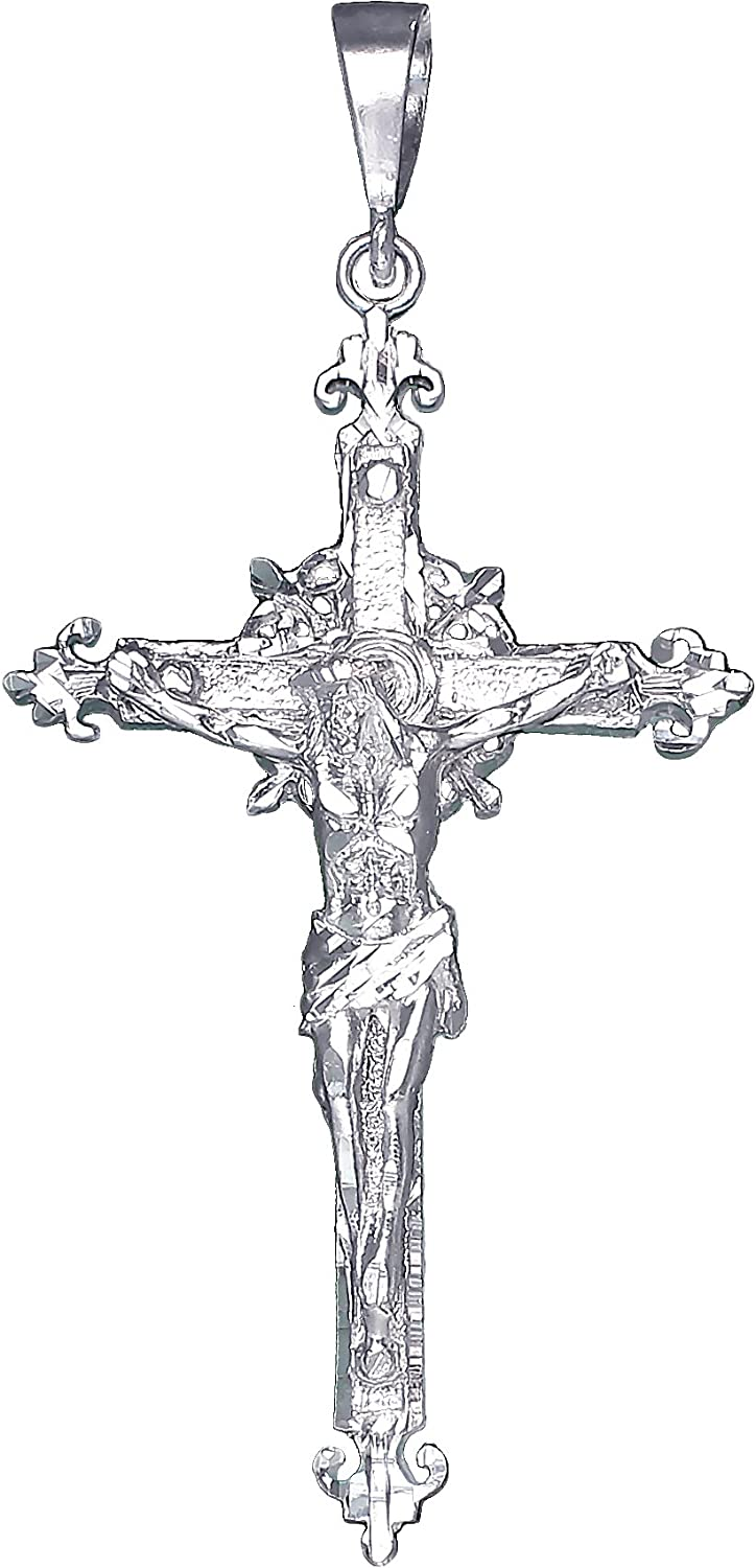 eJewelryPlus Huge Heavy Sterling Silver Cross with Jesus Pendant Necklace 4.7 Inches 21 Grams
