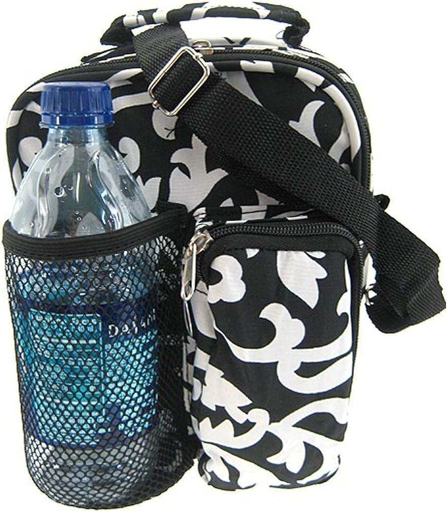 Black White Damask Hipster Crossbody Daypack 7-inch