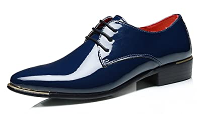 ASHION Business Schnürschuh Herren Schuhe Klassische Spitze Schuhe (39 EU, Blau)