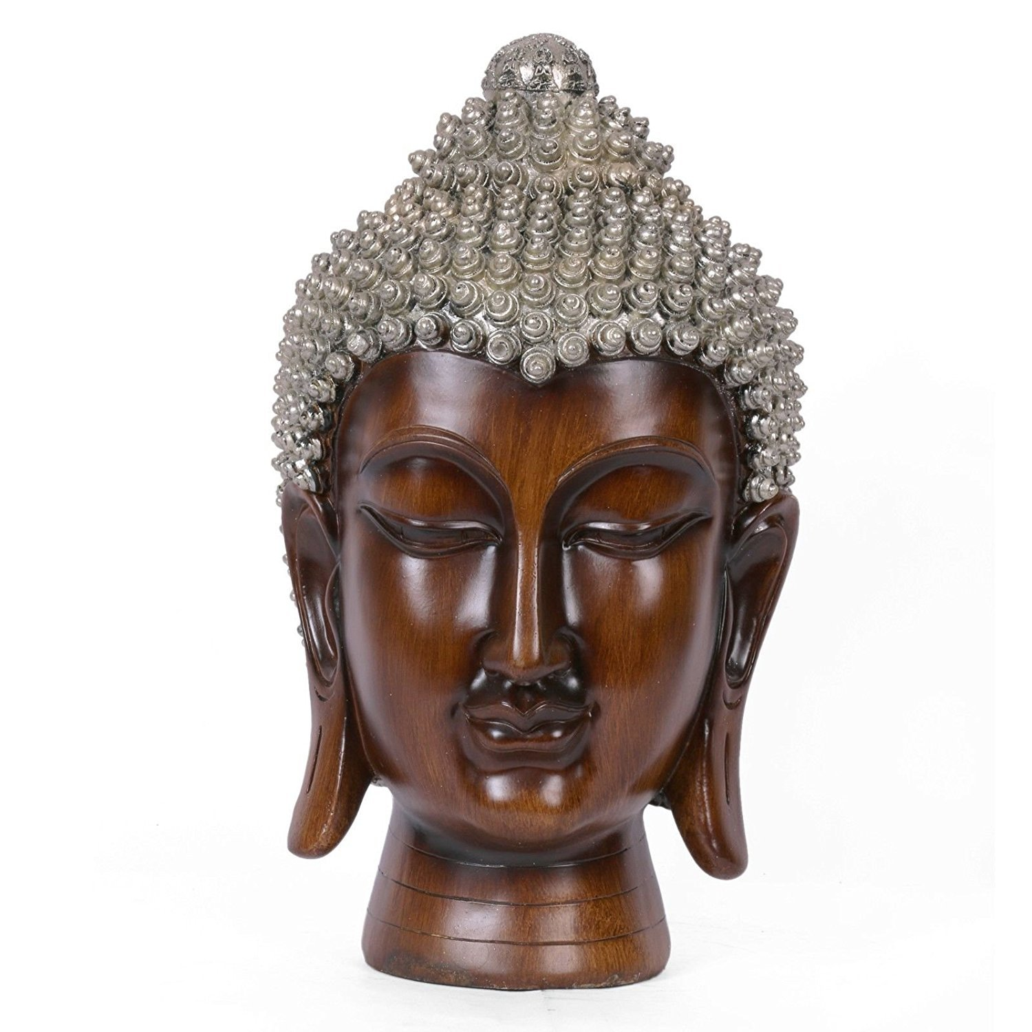 AapnoCraft 16'' Buddha Head Statue Handcrafted Thai Lord Buddha Face Idols Buddhist Brown polished Sculpture Vastu Gifts by AapnoCraft