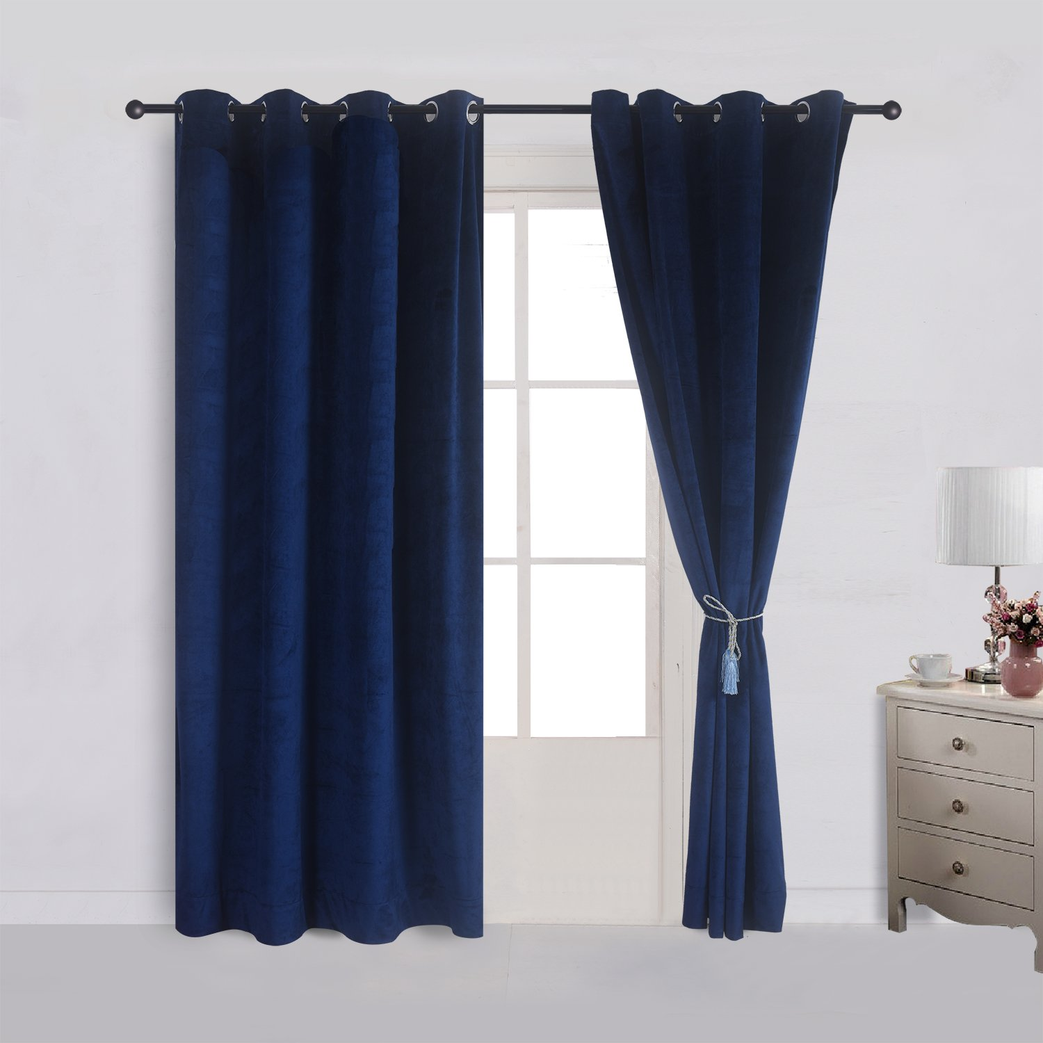 Cherry Home Set of 2 Velvet Flannel Blackout Curtains Panel Drapes Grommet Draperies Eyelet 52Wx63L inch Navy Royal Blue(2 panels)Theater| Bedroom| Living Room| Hotel