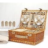 Amazon.com : Windsor 4 Person Wicker Picnic Basket Set - Gift ideas ...