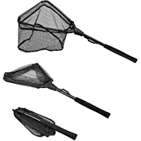 PLUSINNO Fishing Net Fish Landing Net, Foldable Collapsible Telescopic Pole Handle, Durable Nylon Material Mesh, Safe…