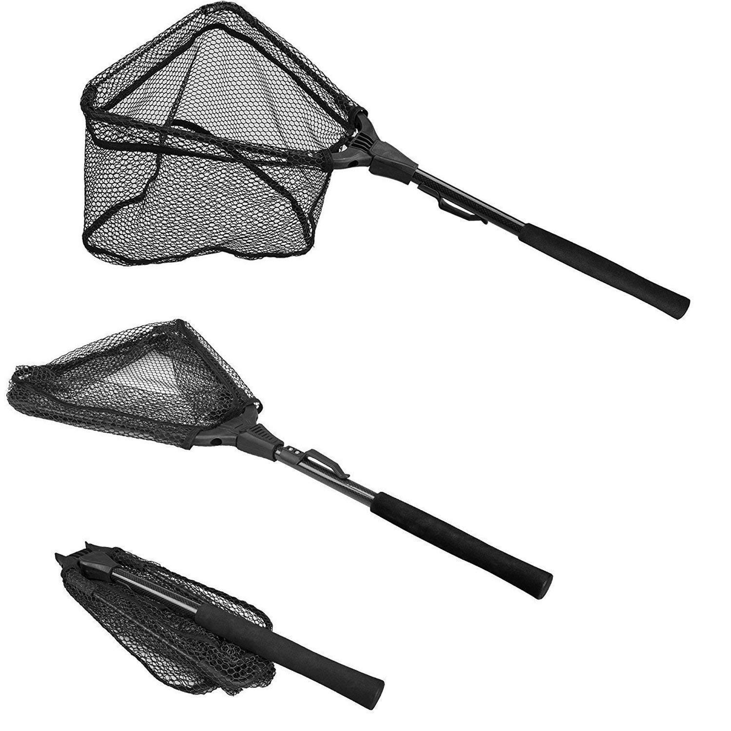 PLUSINNO Fishing Net Fish Landing Net, Foldable Collapsible Telescopic Pole Handle, Durable Nylon Material Mesh, Safe Fish Catching or Releasing (12''/31cm Hoop Size (Fixed Pole)) by PLUSINNO