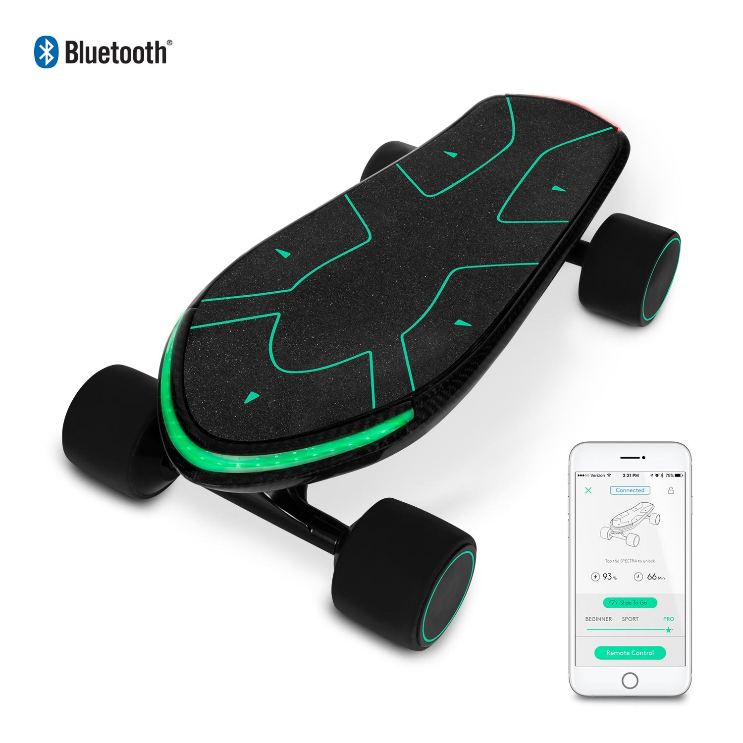 SWAGTRON Spectra Pro Small Electric Penny Skateboard – 12 Miles Per Charge – 15 MPH – Mobile App by Swagtron