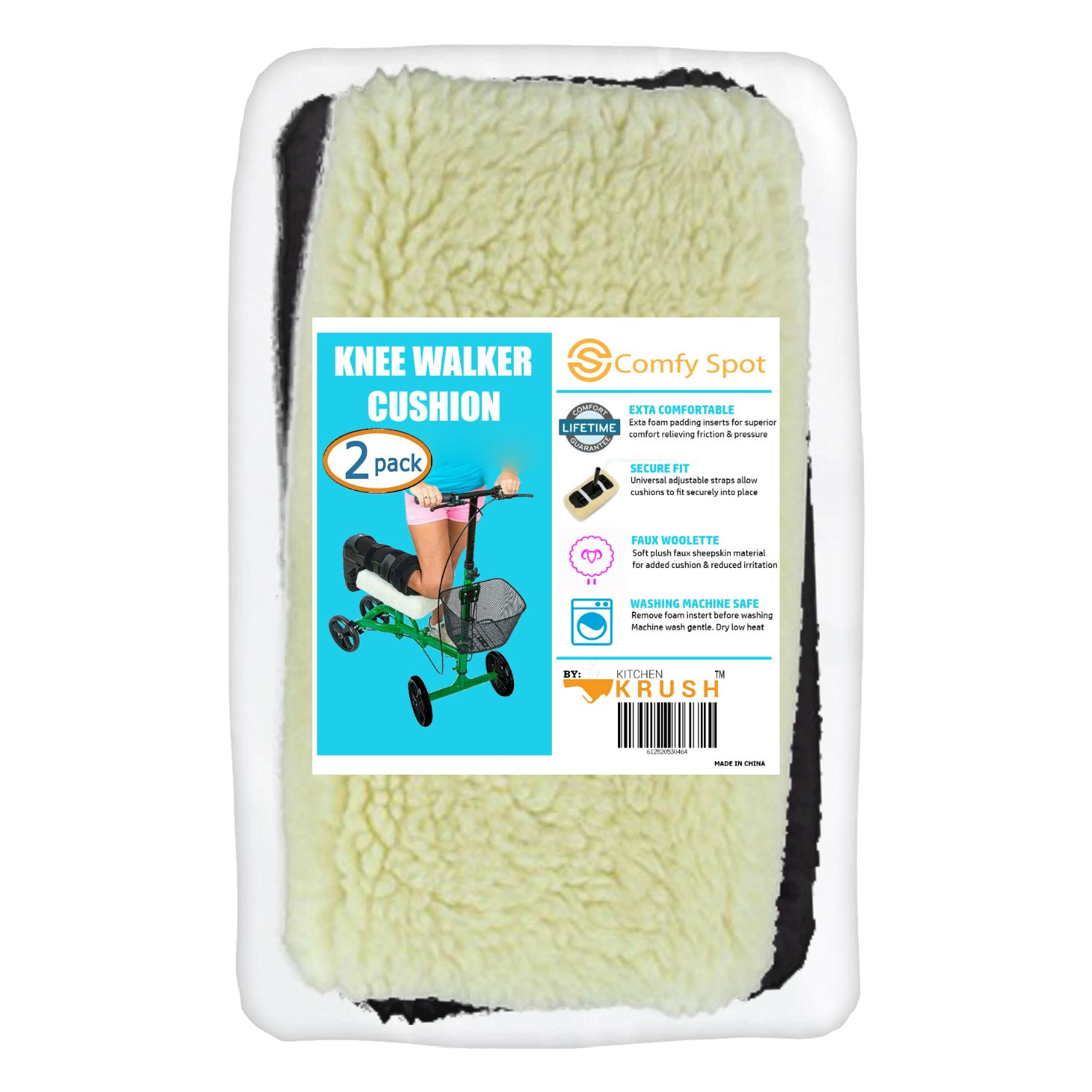 Buy Kitchen Krush Knee Walker Cushion Covers 2 Pack For Knee Scooter ...