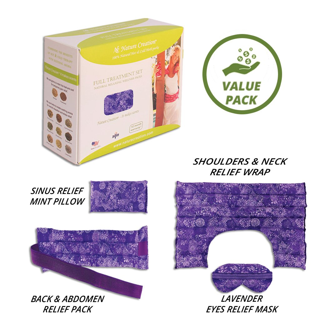 Nature Creation Full Treatment Set- Herbal Heating Pad / Cold Pack - Hot and Cold Therapy (Purple Flower) by Nature Creation