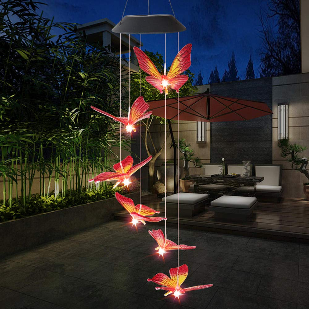 LALLing Carillones de Viento carillones de Viento de Mariposa al Aire Libre LED de energ/ía Solar Carill/ón de Viento Luz Jard/ín Colgante Spinner L/ámpara Decoraci/ón