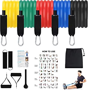 Resistance Bands Set,Exercise Bands Stackable Workout Bands with Door Anchor,Handles,Legs Ankle Straps for Exercise Stretch Fitness, Arms Booty Bands Training, Physical Therapy,Home Workouts,Yoga