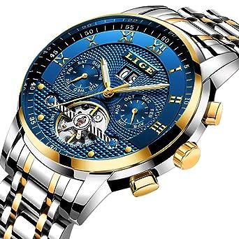 Amazon Com Mens Watches Top Brand Luxury Lige Automatic Mechanical