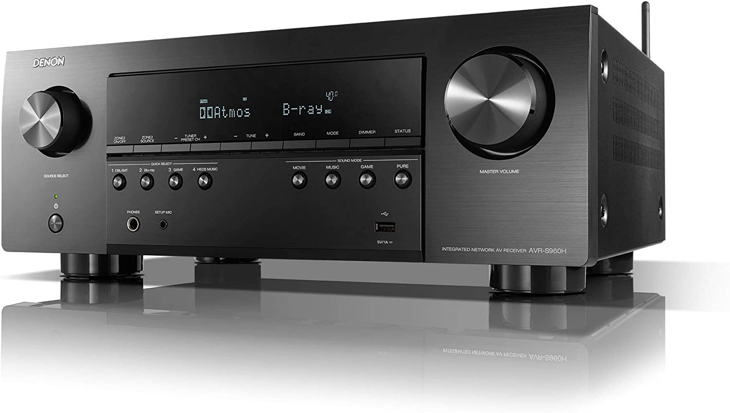 Denon AVR-S960H (2020 Model) 7.2ch 8K AV Receiver with 3D Audio, HEOS Built-in and Voice Control, Black, Model Number: AVRS960H