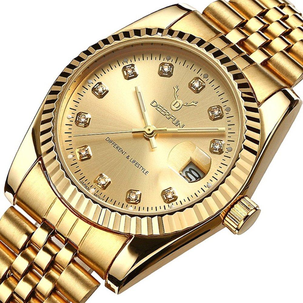 Mens Fashion Luxury Stainless Steel Calendar Rhinestone Waterproof Sports Women Unisex Quartz Watch