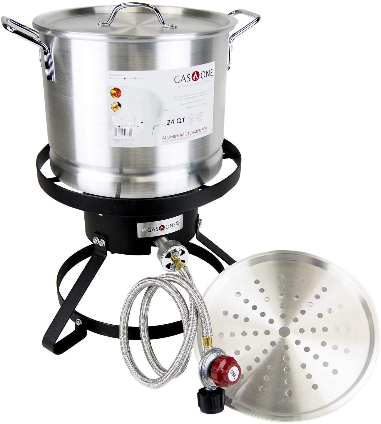 GasOne B-5155 Propane Burner with Steamer Pot-Turkey Fry & Tamale