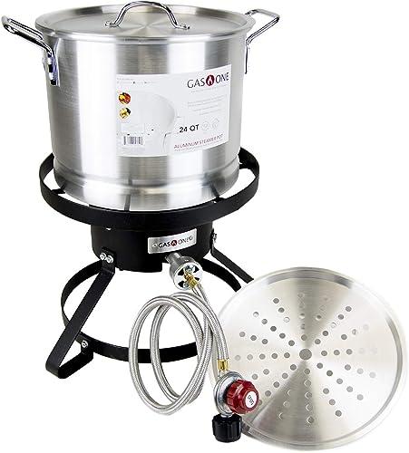 GasOne B-5155 Propane Burner with Steamer Pot-Turkey Fry Tamale