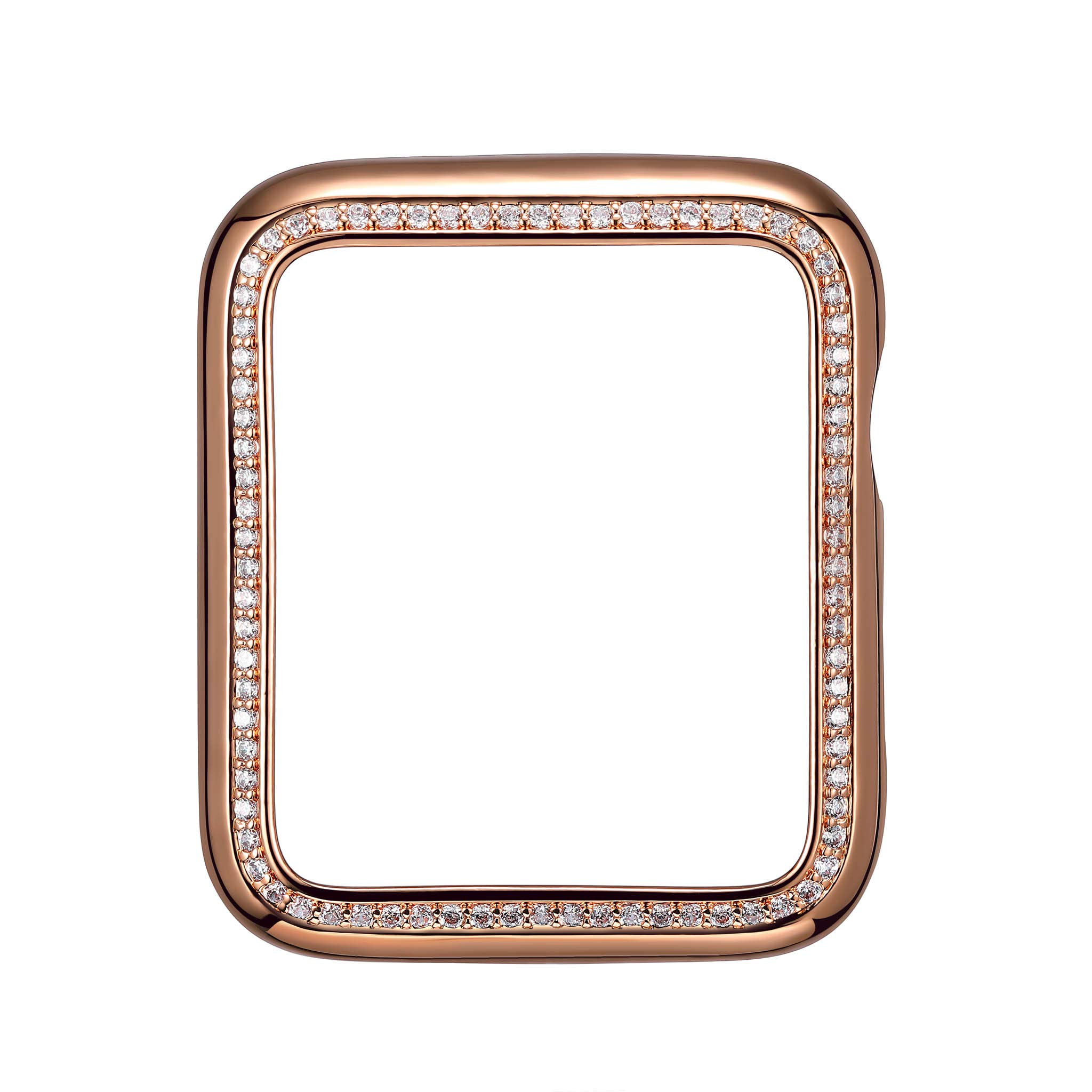 SKYB 14K Rose Gold Plated Jewelry-Style Apple Watch Case with Cubic Zirconia CZ Border - Large (Fits 42mm iWatch)
