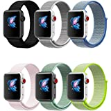 QIENGO Compatible for Apple Watch Band 38MM 42MM, Nylon Sport Loop with Hook and Loop, Fastener Adjustable Closure Strap, Replacement Band Compatible for iWatch Series 1/2/3