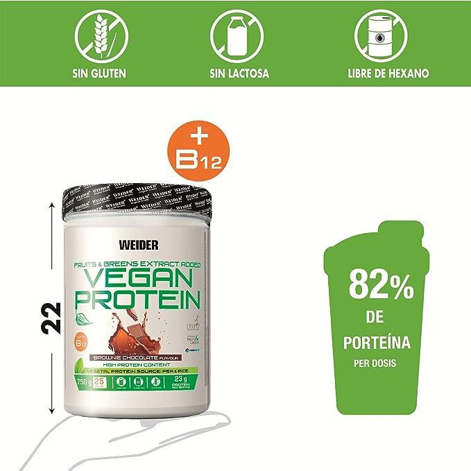 Weider Vegan Protein, Sabor Chocolate, Proteína 100% vegetal de guisantes (PISANE) y arroz, Sin gluten, Sin lactosa, Sin aceite de palma, 750 g