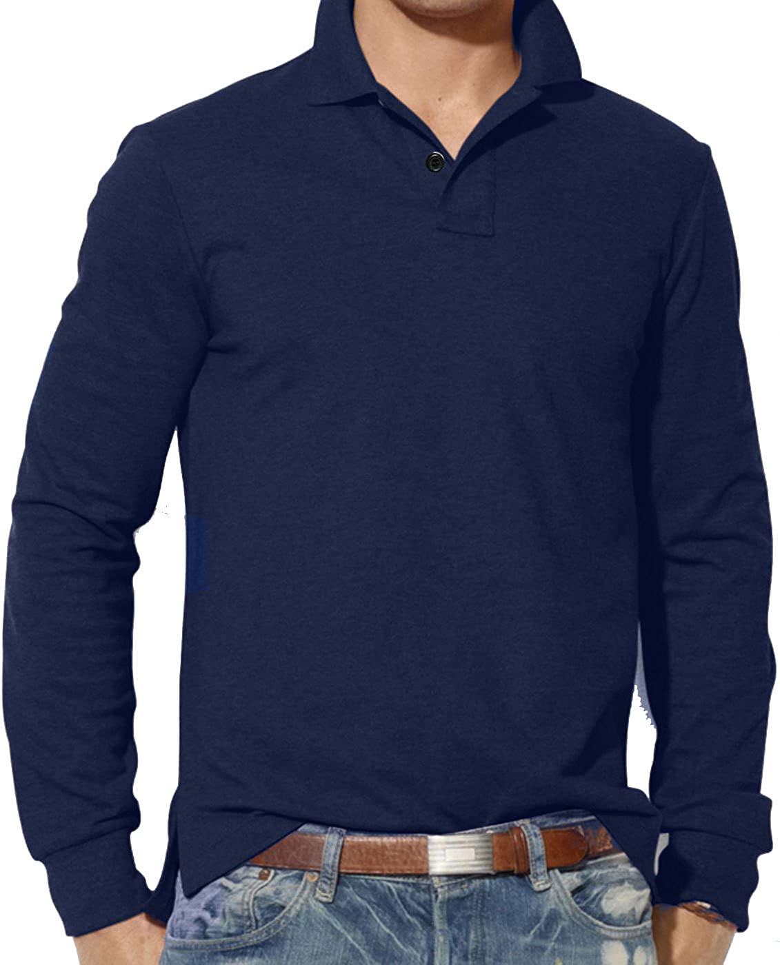 Mens Clothing Long Sleeve Plain Polo Shirt Custom Fit Top S M L XL 2XL 3XL