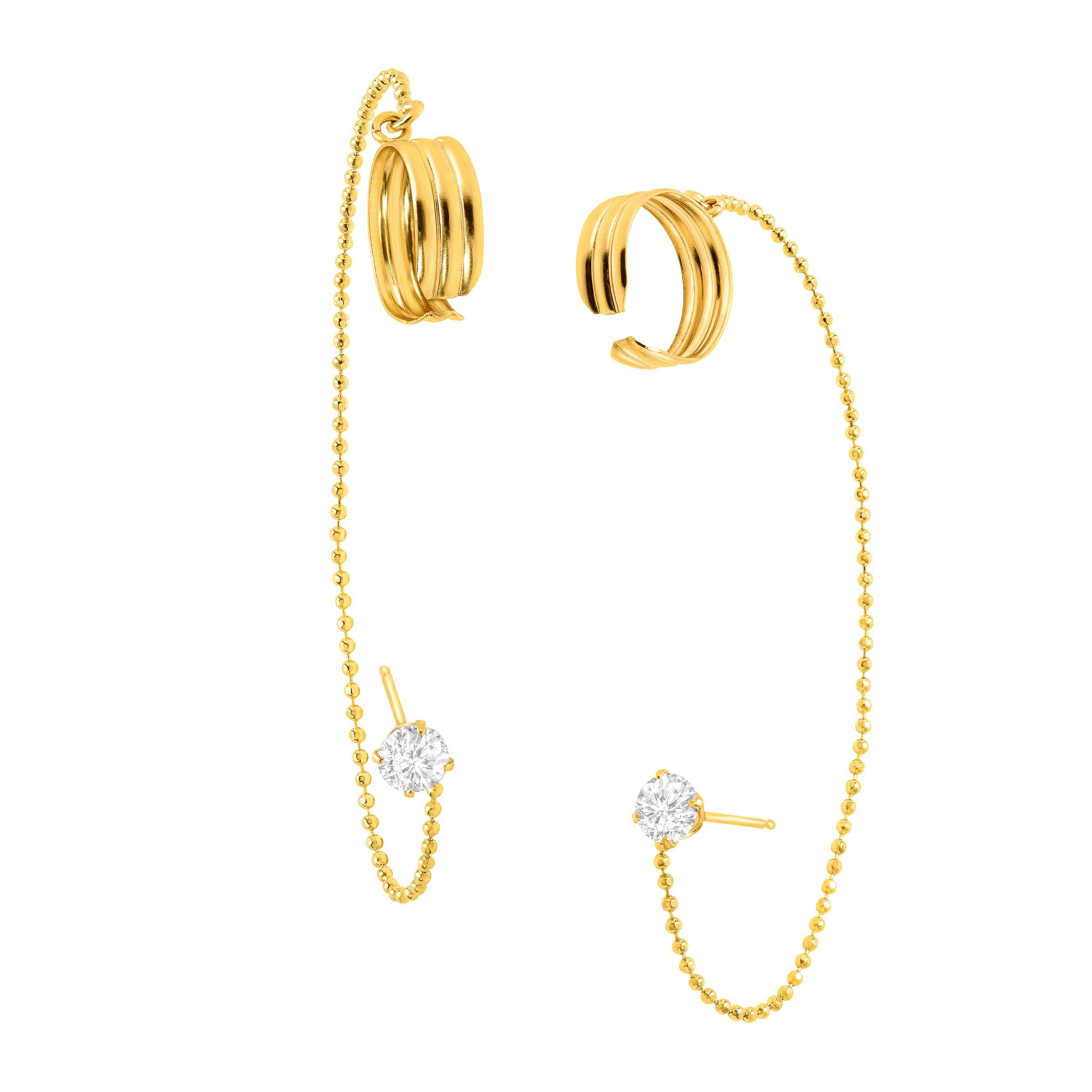 Eternity Gold Cubic Zirconia Cuff Stud Earrings in 10K Gold