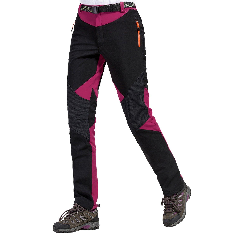 Sidiou Group Aire Libre Pantalones Impermeables Pantalones de Senderismo Pantalones Softshell Mujer Pantalones de Trekking Pantalones de Montaña Transpirable Fleece Lined Pantalones de Escalada