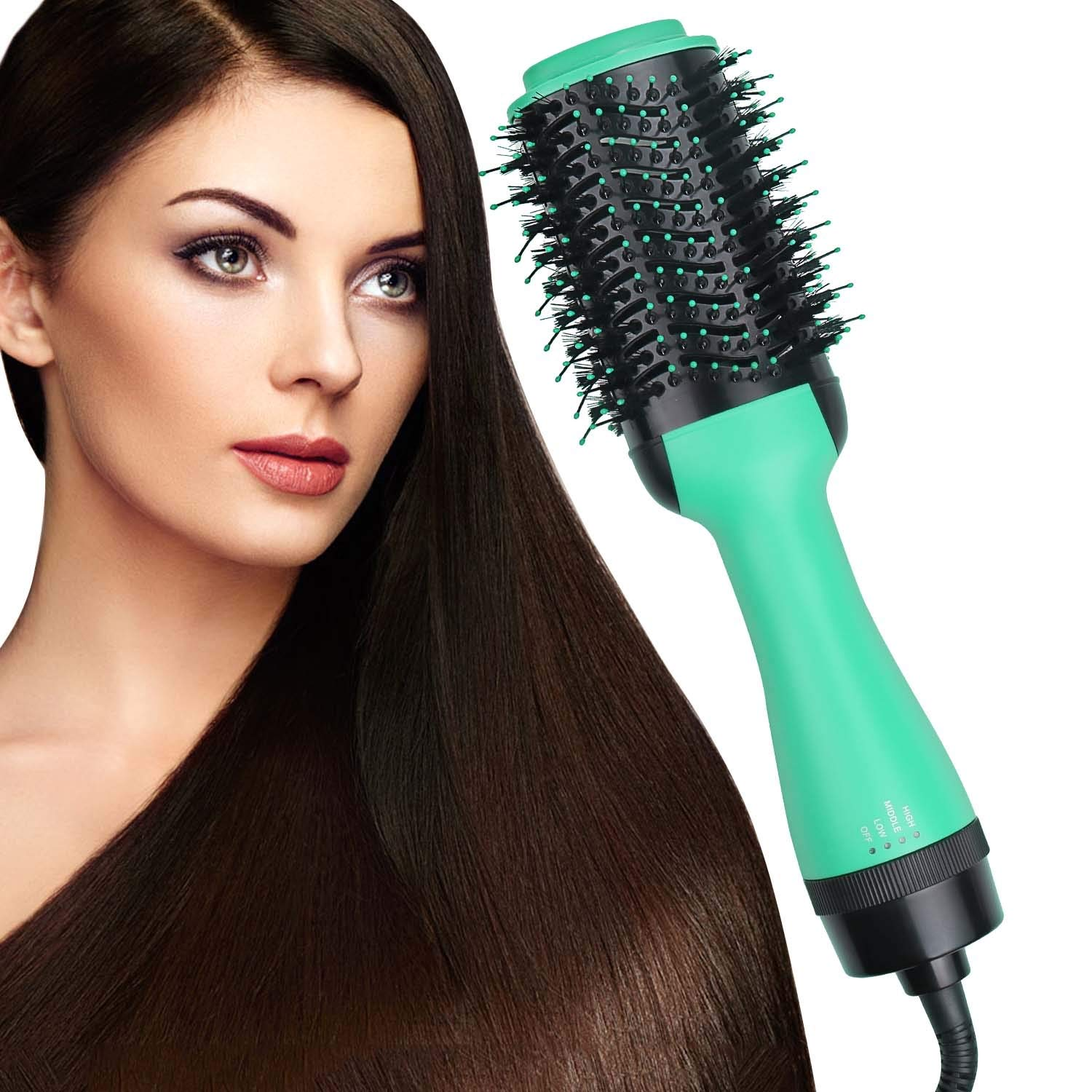 SubClap Hair Dryer Brush Hot Air Spin Comb, 3 in 1 Dry Straighten Curl Electric Blow Dryer Hair Negative Ionic Straightening and Curly 3 Modes Hair Comb Styling Brush Styler for Women,Green