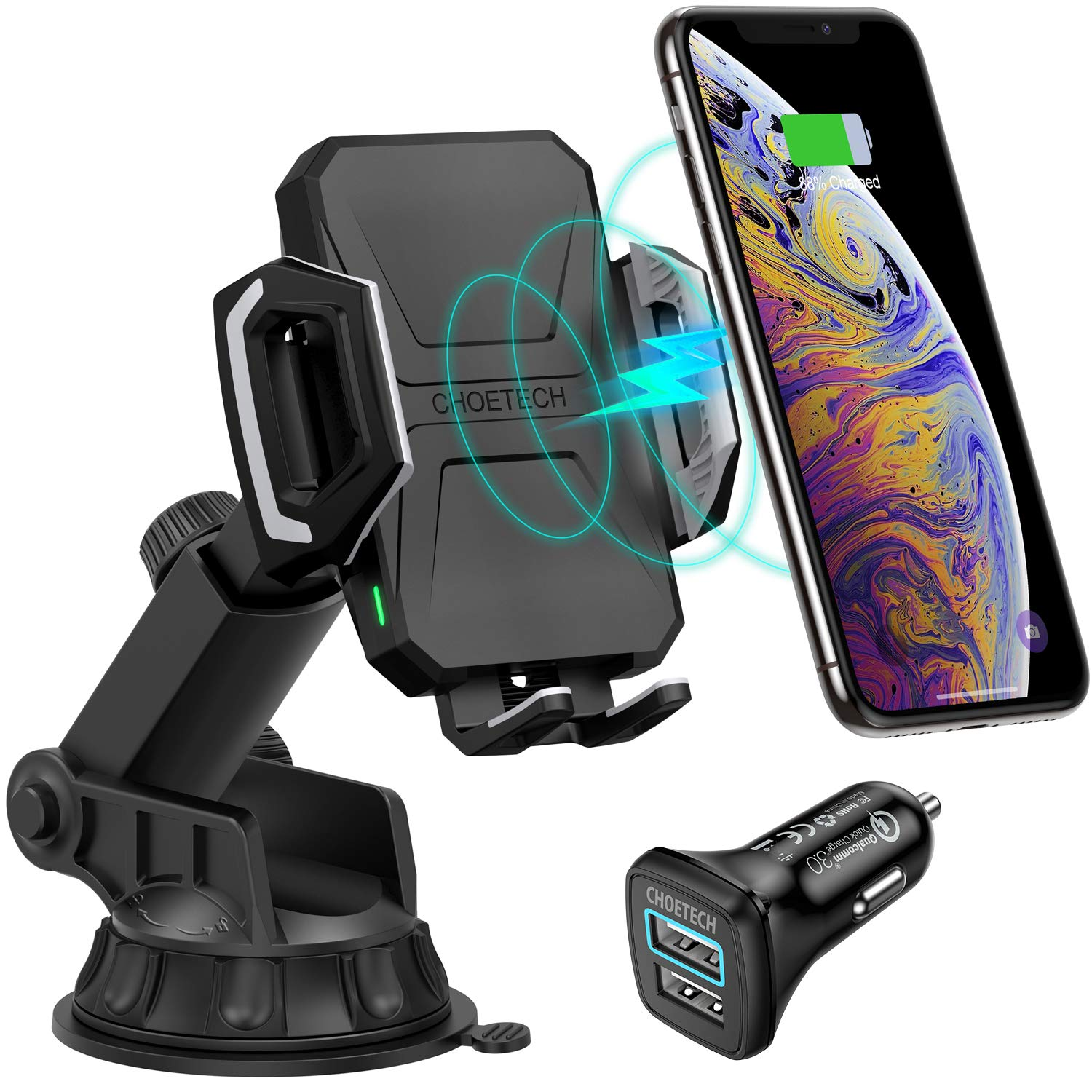 CHOETECH Wireless Car Charger, 10W/7.5W Qi Wireless Fast Charging Car Mount USB-C Phone Holder Compatible with iPhone Xs/XS Max/XR/X/8/8+, Samsung Note 10/S10/S10+/Note 9/S9/S8(Car Charger Included) by CHOETECH