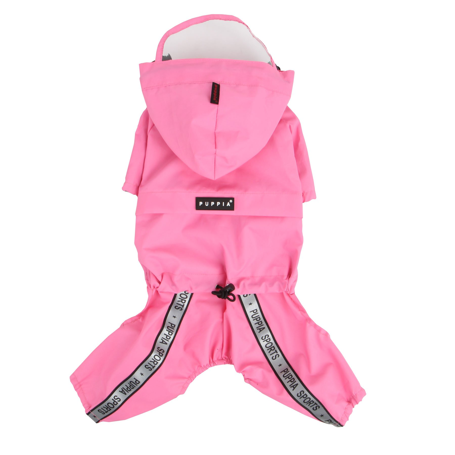 Authentic Puppia Race Track Hooded Jumpsuit, Pink, Small