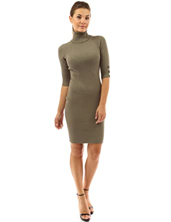 7fa7b156bf6 PattyBoutik Women s Polo Neck Elbow Sleeve Jumper Dress (Olive Green ...