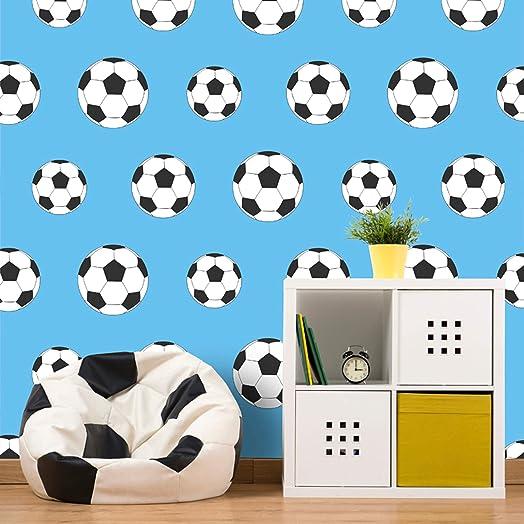 Football Wallpaper Soccer Sport Kids Bedroom Light Blue White ...