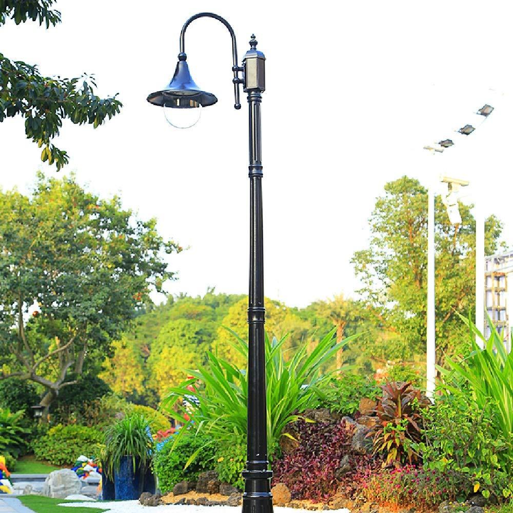 Size : 210cm Wapipey American Clear Glass High Pole Lamp E27 IP55 Waterproof Outdoor Aluminum Post Lamp Metal Outside Street Light Courtyards Park Exterior Pillar Lantern
