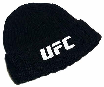 Reebok – MMA UFC Octagon toque Knit Cuffed negro blanco gorro para fútbol americano sudadera con